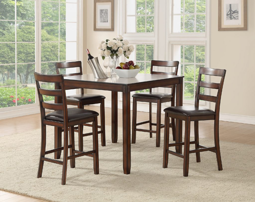 Charlton Home Climsland 5 Piece Counter Height Solid Wood Dining Set
