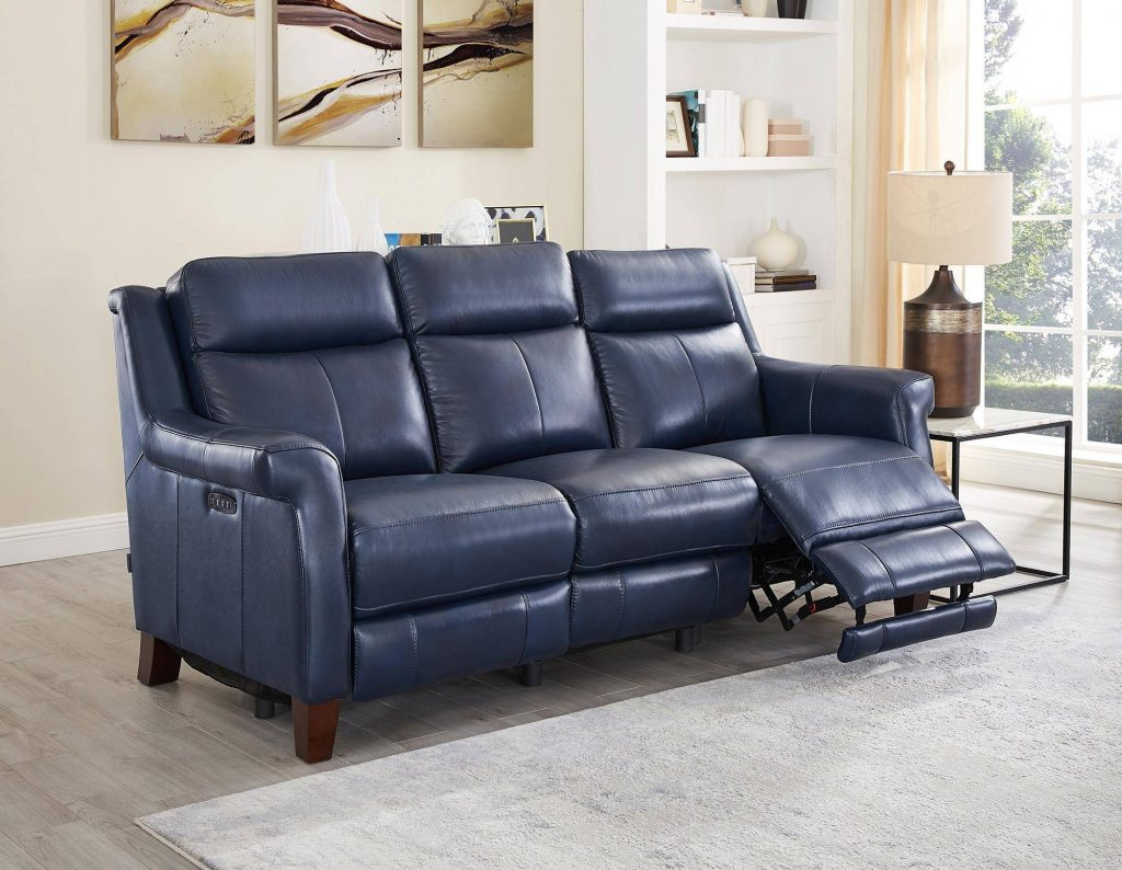 Chatham Blue Genuine Leather Power Reclining Sofa Navona Hydeline