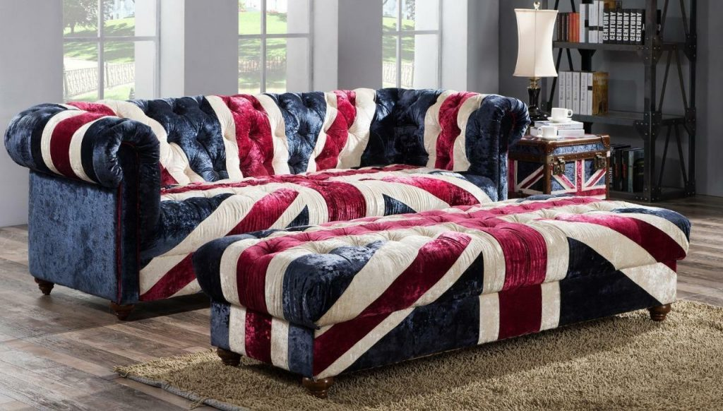 Chesterfield Union Jack Handmade Velvet Sofa 3 Seater Settee Retro
