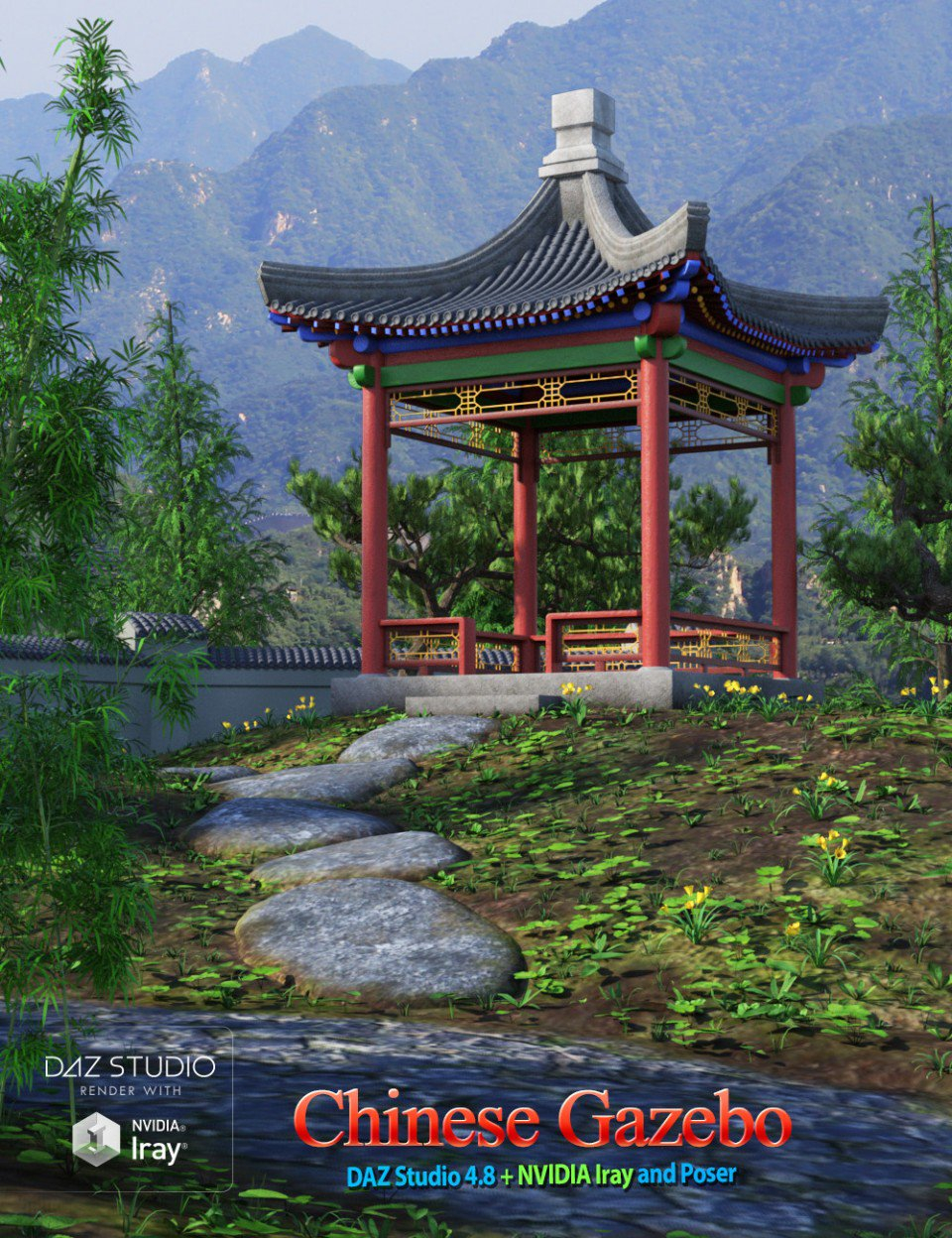 Chinese Gazebo 3d Models And 3d Software Daz 3d