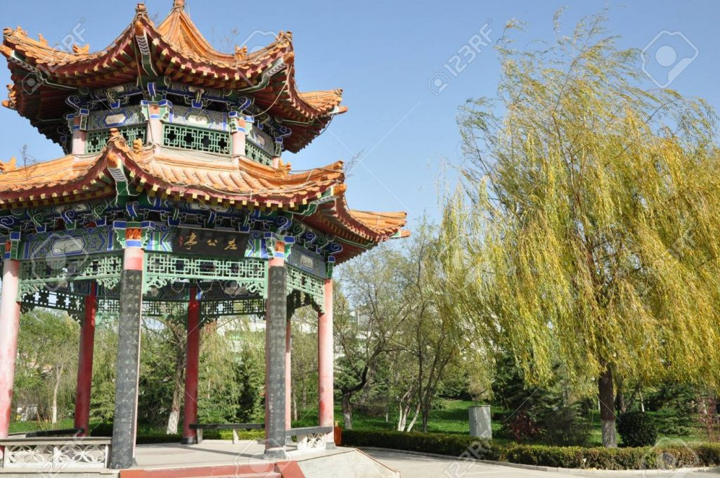 Chinese Gazebo In A Park Stock Photo Picture And Royalty Free Image