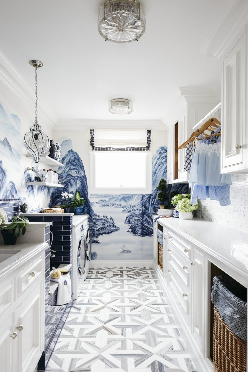 Chinoiserie Bathroom Murals White And Blue Country Farmhouse Powder