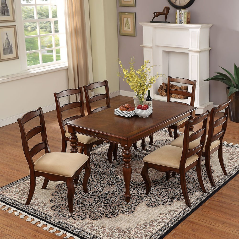 Classic Style Solid Wood Rectangular Dining Table In Walnut Finish