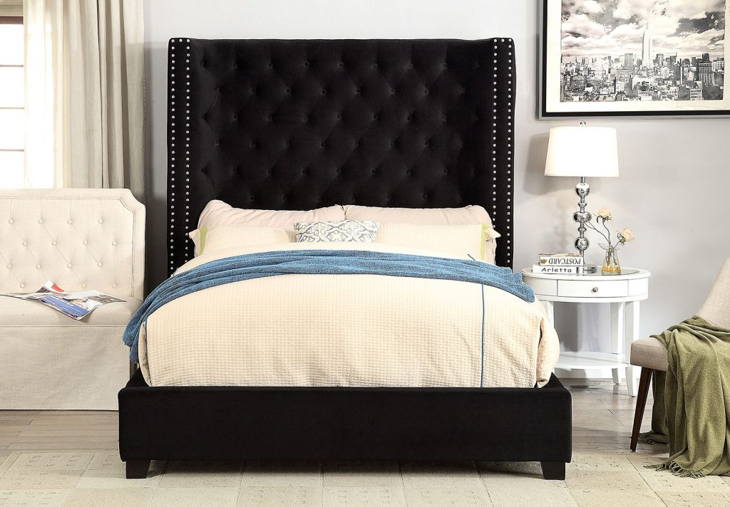Cm7679bk Mirabelle Black Fabric And Tufted Tall Queen Headboard Bed Frame Set