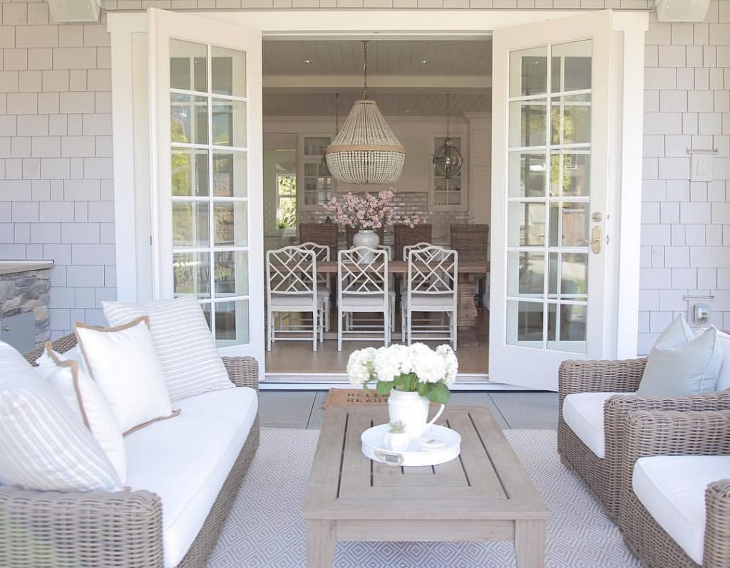 Coastal Style Outdoor Living French Doors Patio Design Covered