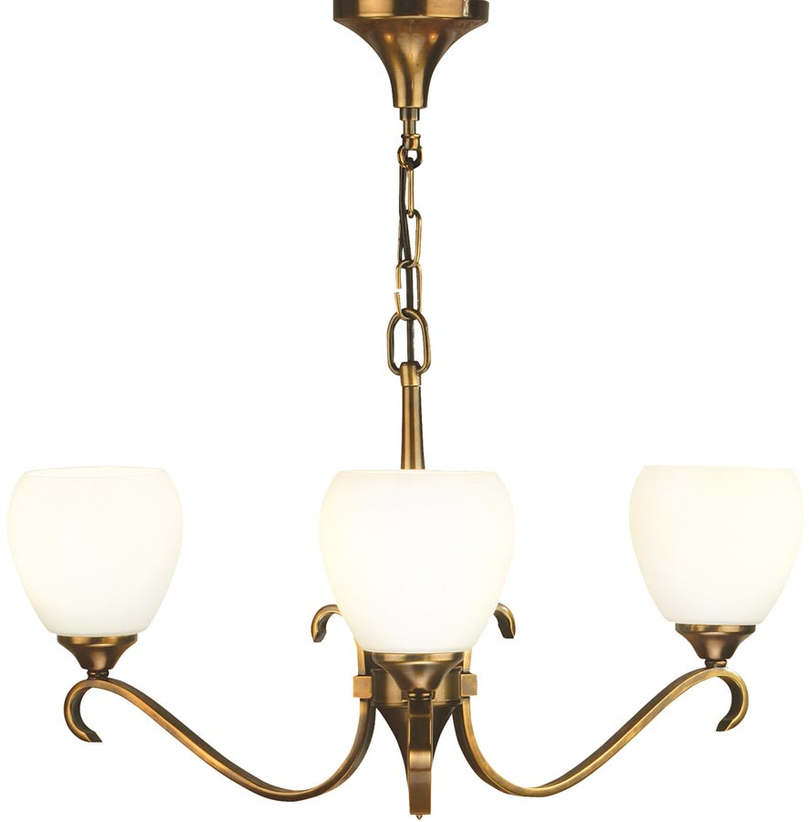 Columbia 3 Light Antique Brass Chandelier Opal Shades 63439