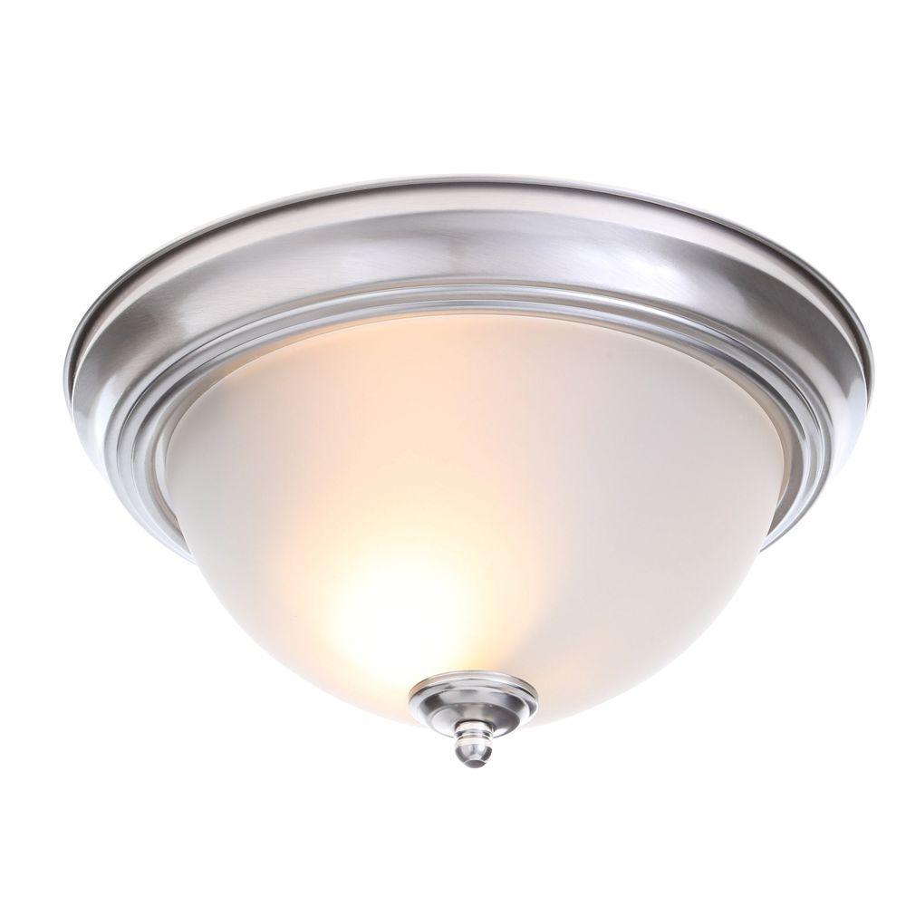 Commercial Electric 13 In 2 Light Brushed Nickel Flush Mount With
