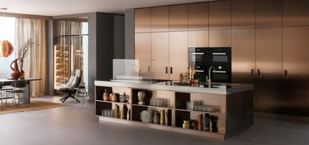 Contemporary Kitchen Wood Veneer Marble Stainless Steel