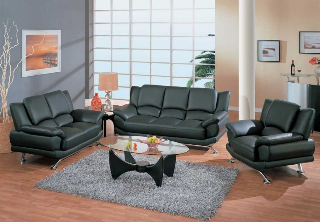 Contemporary Living Room Set In Black Red Or Cappuccino Leather San