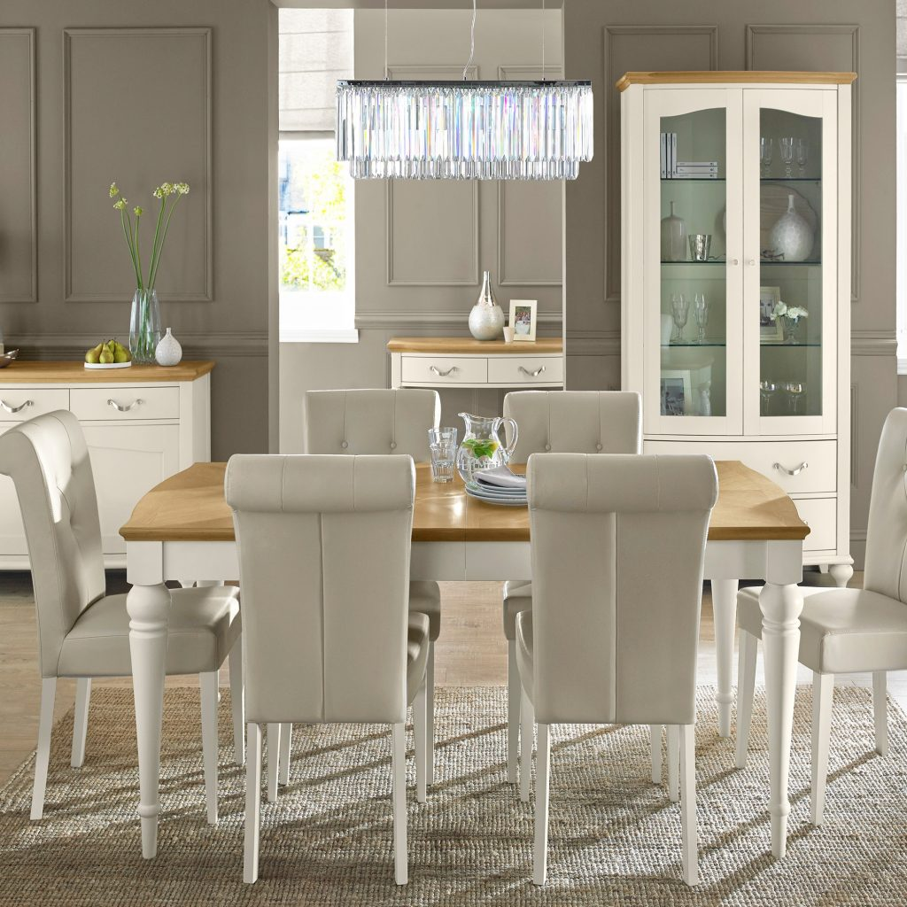 Cookes Collection Geneva Oak And Antique White Dining Table And 6