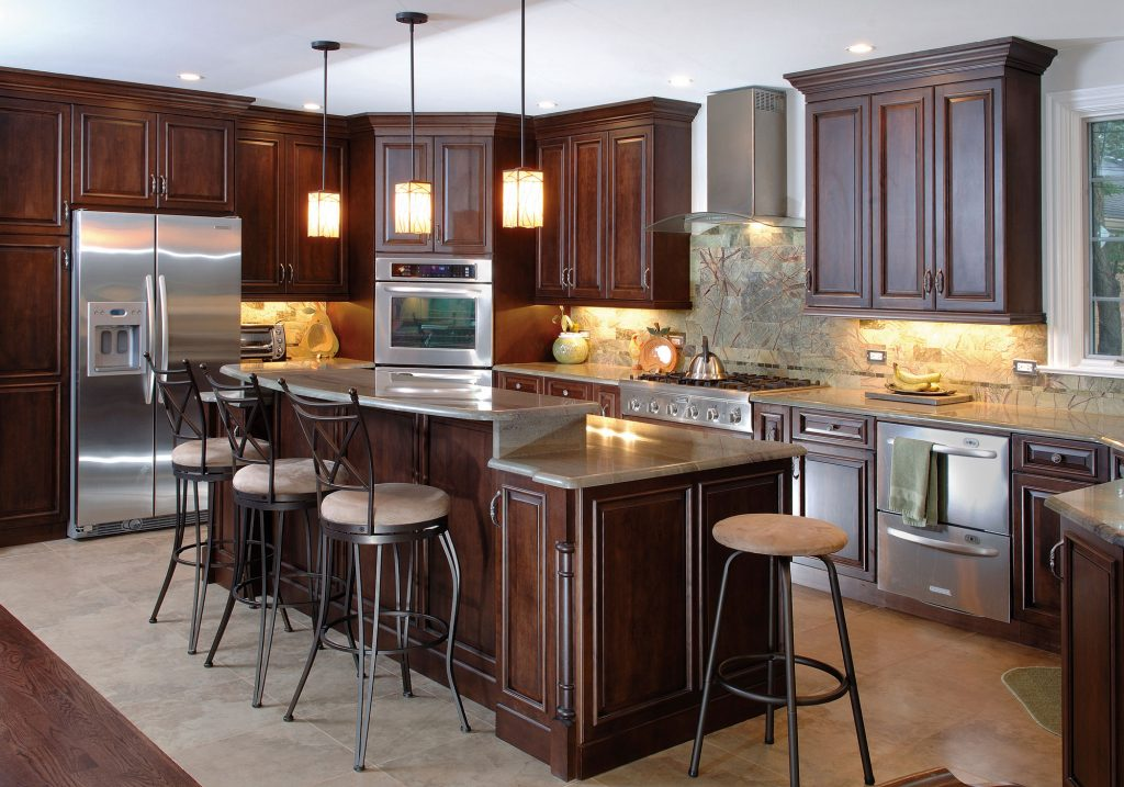 Cool Kitchen Design Ideas With Mahagony Kitchen Cabinet Design And