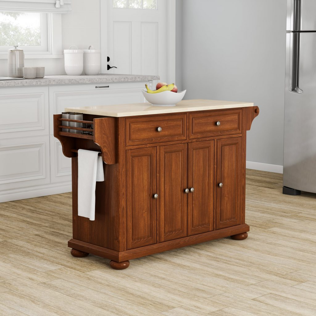 Copper Grove Kanha Natural Wood Top Kitchen Island In Classic Cherry