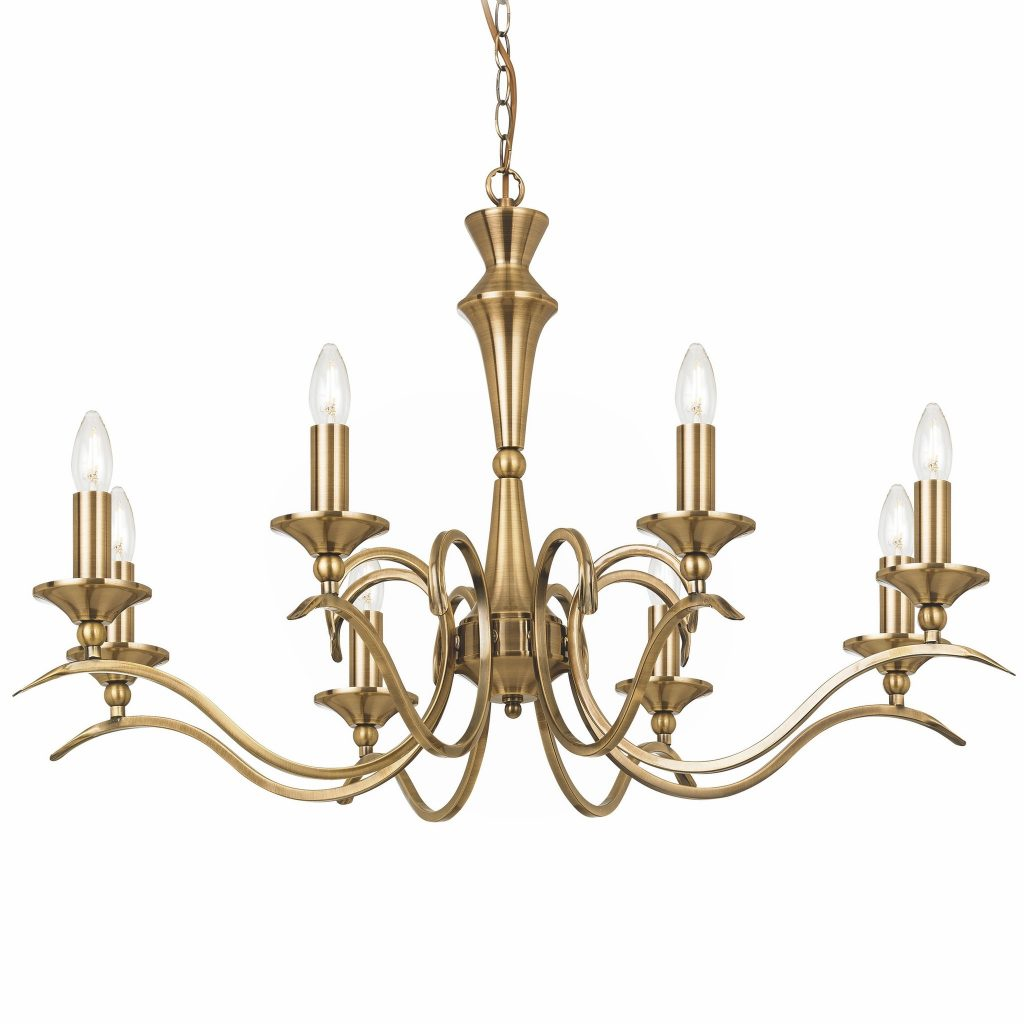 Coralline 8 Light Antique Brass Chandelier Lightbox