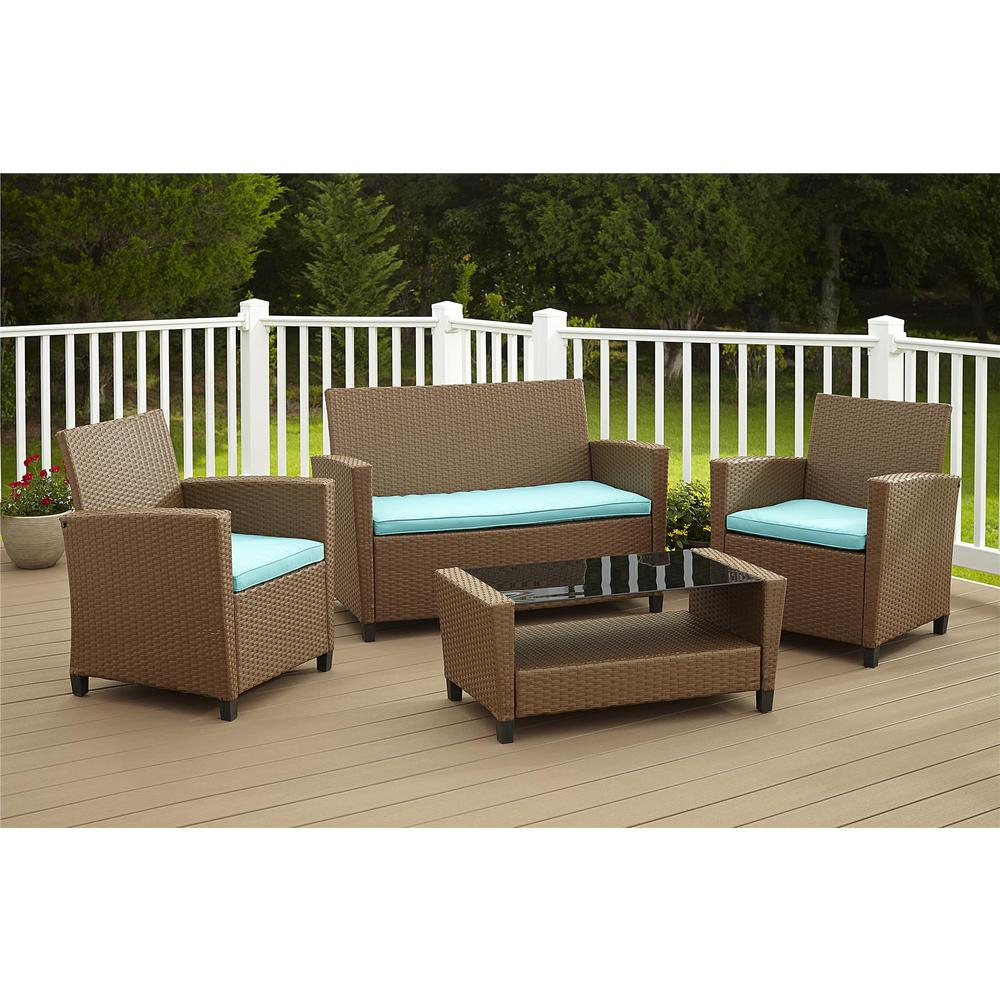 Cosco Malmo 4 Piece Brown Resin Wicker Patio Conversation Set With