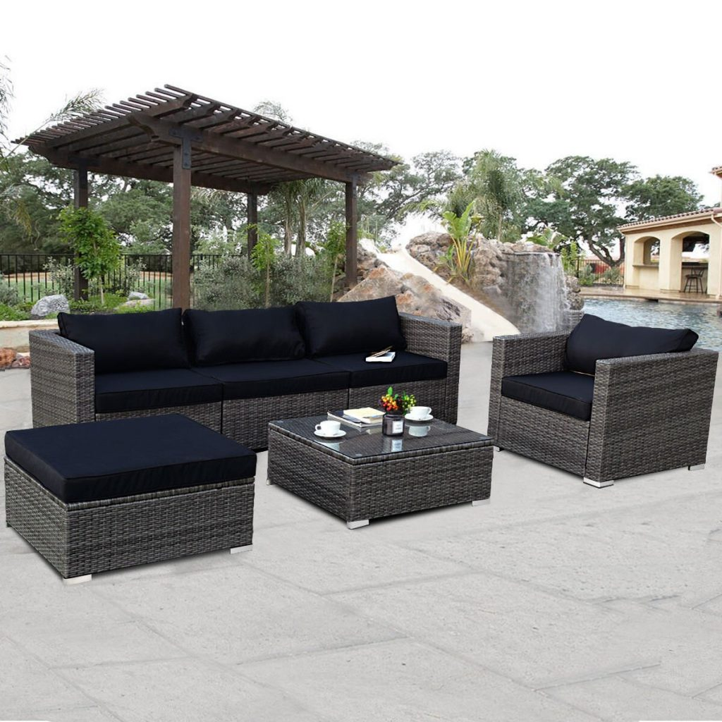 Costway Costway 6 Piece Rattan Wicker Patio Furniture Set Sectional