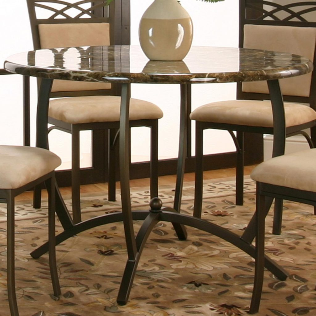 Cramco Inc Atlas Round Dinner Table W Faux Marble Top Value City