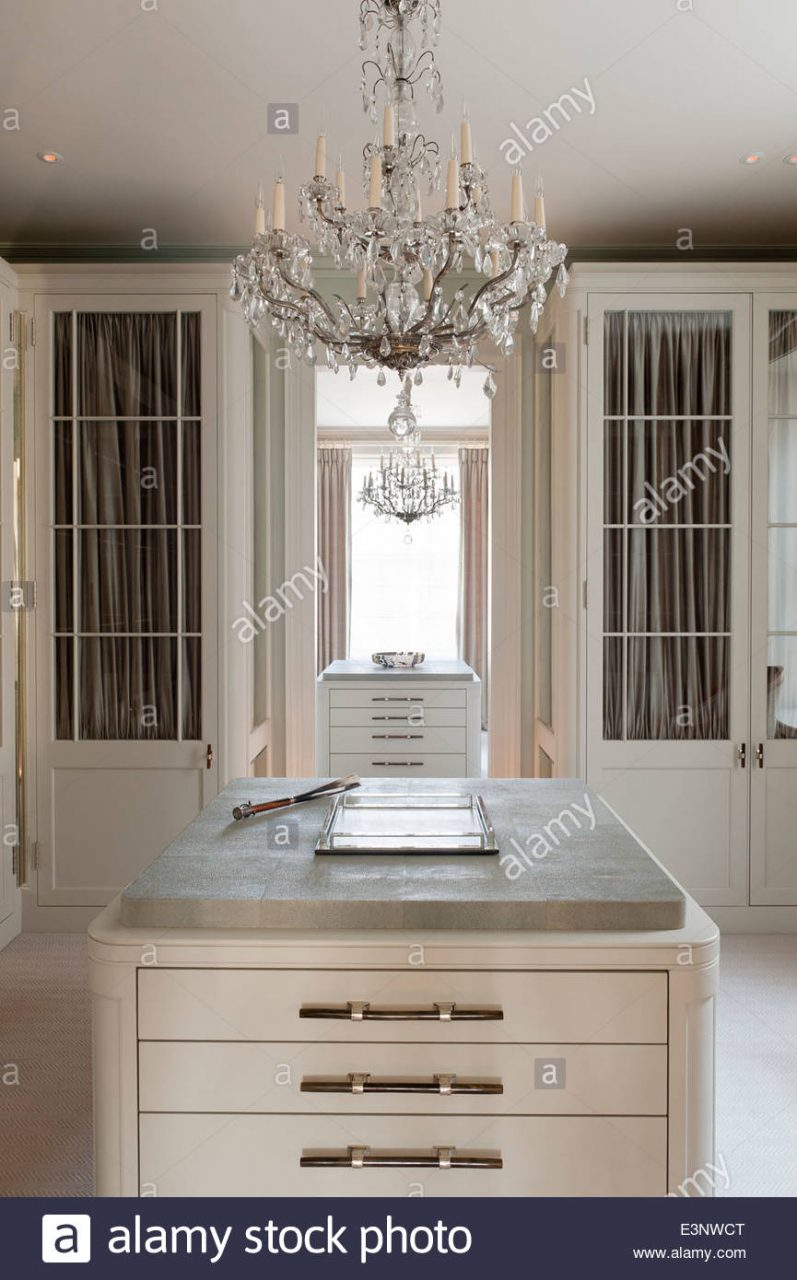 Cut Glass Chandelier In Dressing Room With Glass Panelled Wardrobes