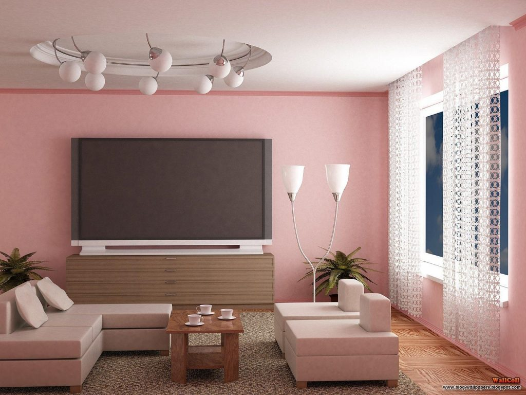 Cute Living Room Paint Idea In Chic Pinky Theme With Pink Wall Paint