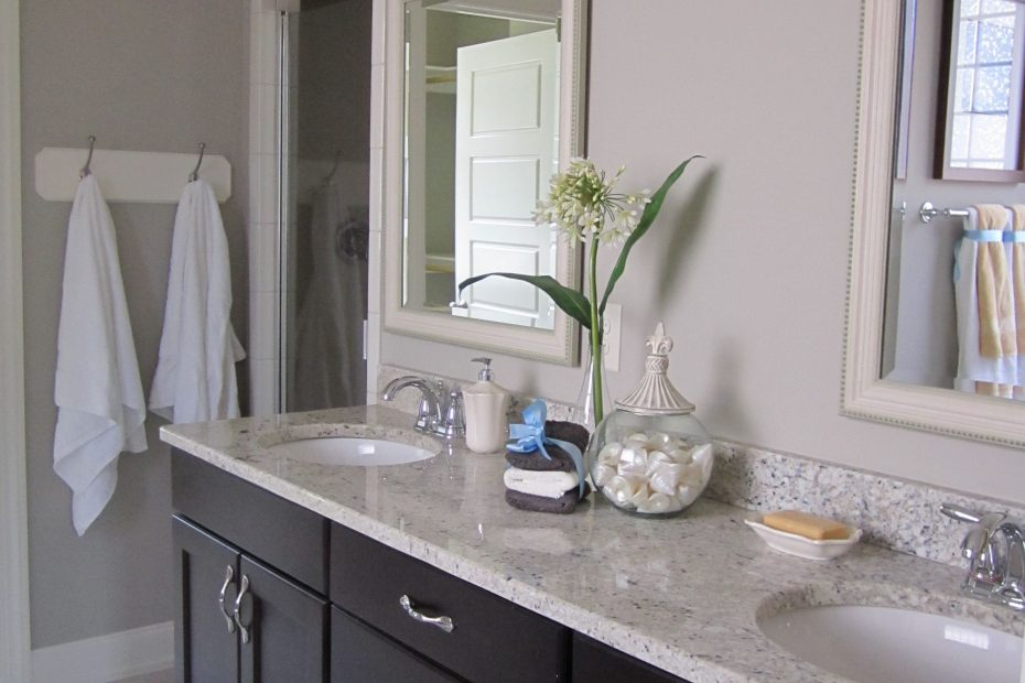Dark Cabinets Light Countertop White Door Frame And Kickboards