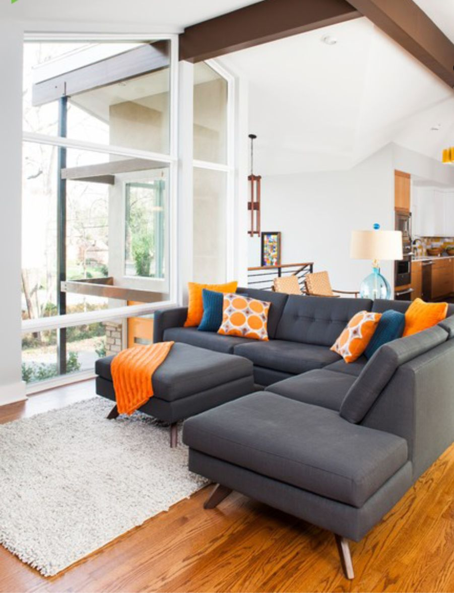 Dark Grey Brown Orange And White Living Room Living Room