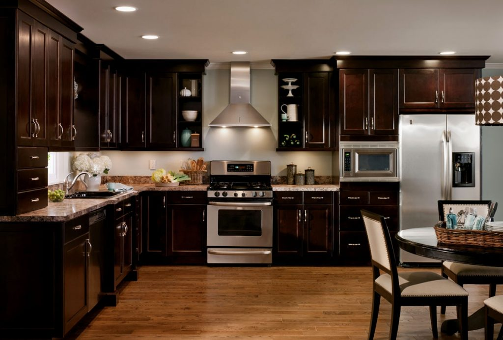 Dark Wood Kitchen Cabinets The Most Light With Floors Along 5
