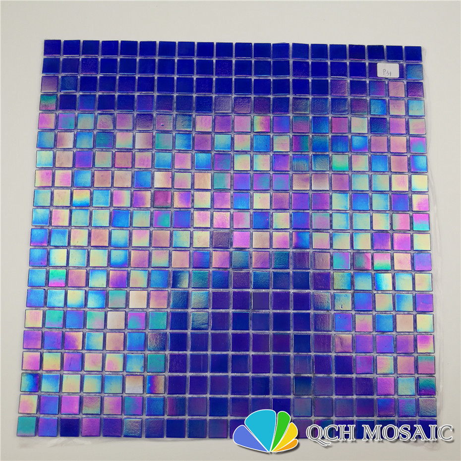 Deep Blue Iridescent Color Glass Mosaic Tile Swimming Pool Tile