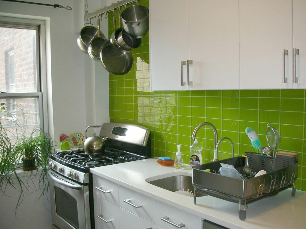 Delectable Green Ceramic Tiles Backsplash Of Modern Small Kitchen