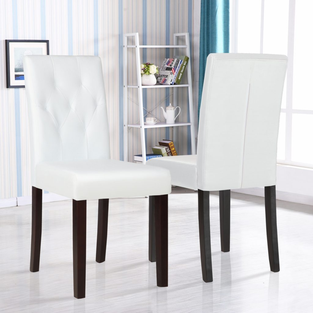 Details About Set Of 2 Dining Chair White Leather Kitchen Dinette With Tufted Backrest