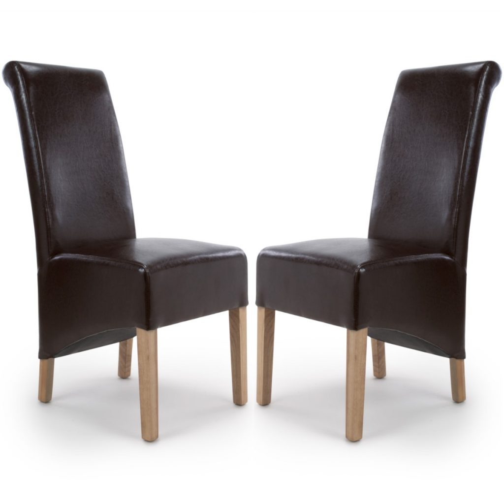 Dining Chairs Shankar Krista Brown Bonded Leather Chairs