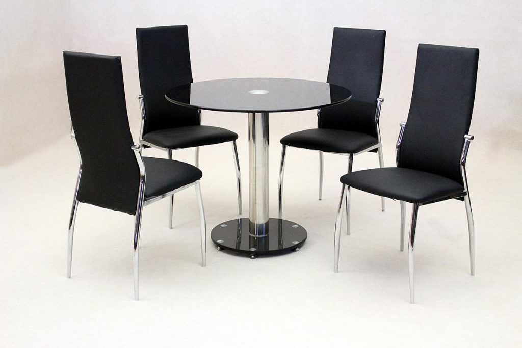 Dining Kitchen Table Set Black Glass Round Top 90cm Four Black