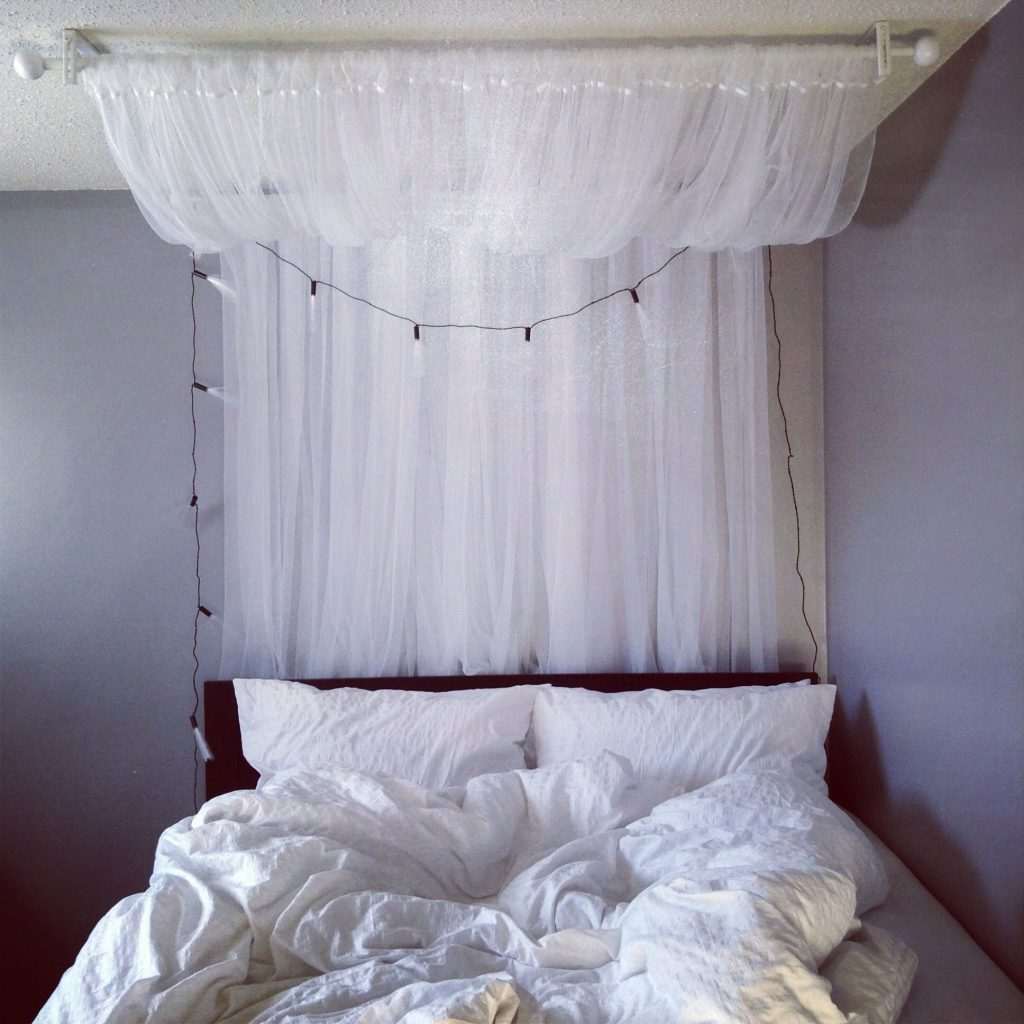 Diy Canopy 2 Curtain Rods And 2 Sets Of Lill Sheer Curtains All