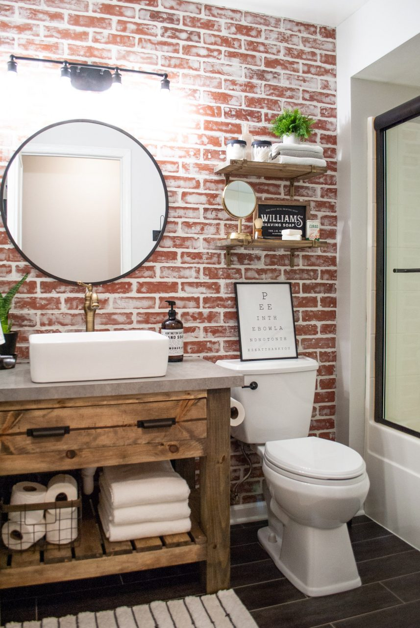 Diy Faux Brick Wall Basements Faux Brick Walls Bathroom Wall