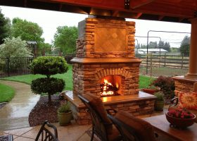 Back Yard Patio with Fireplace
