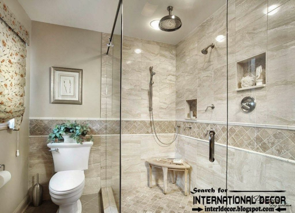 Elegant Master Traditional Bathroom Using Cream Stone Mosaic