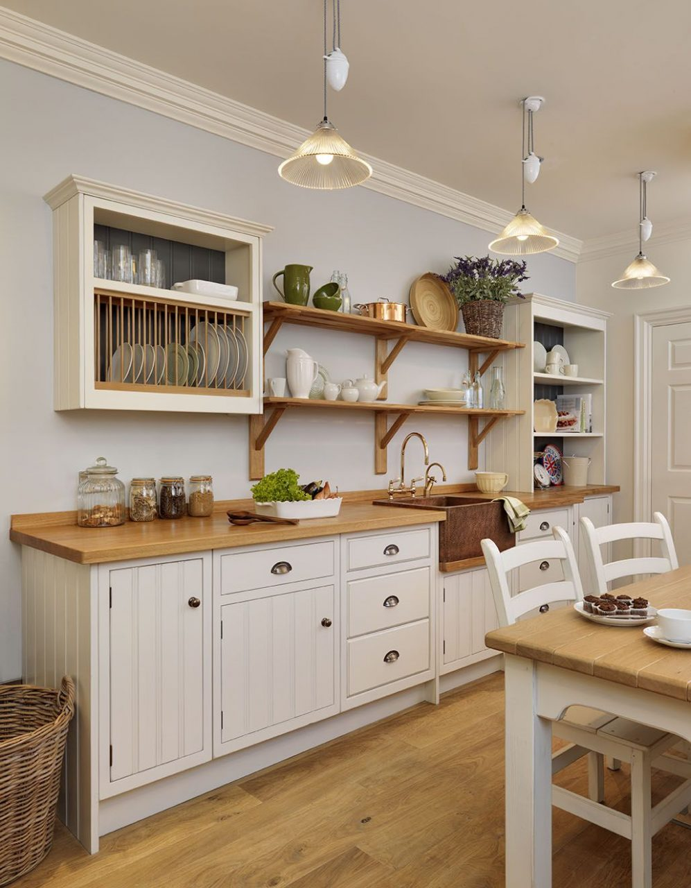English Cottage Kitchen Rustic Painted White With A Copper Sink