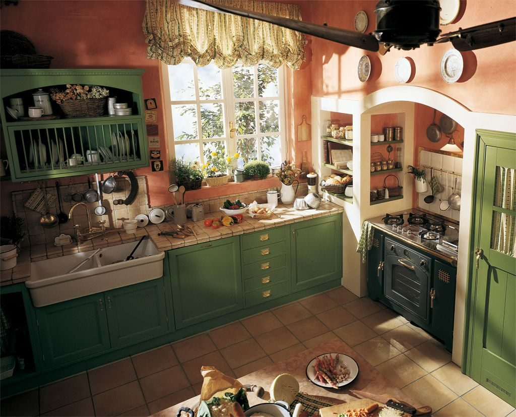 English Country Style Kitchen Old England Built In Country Kitchen