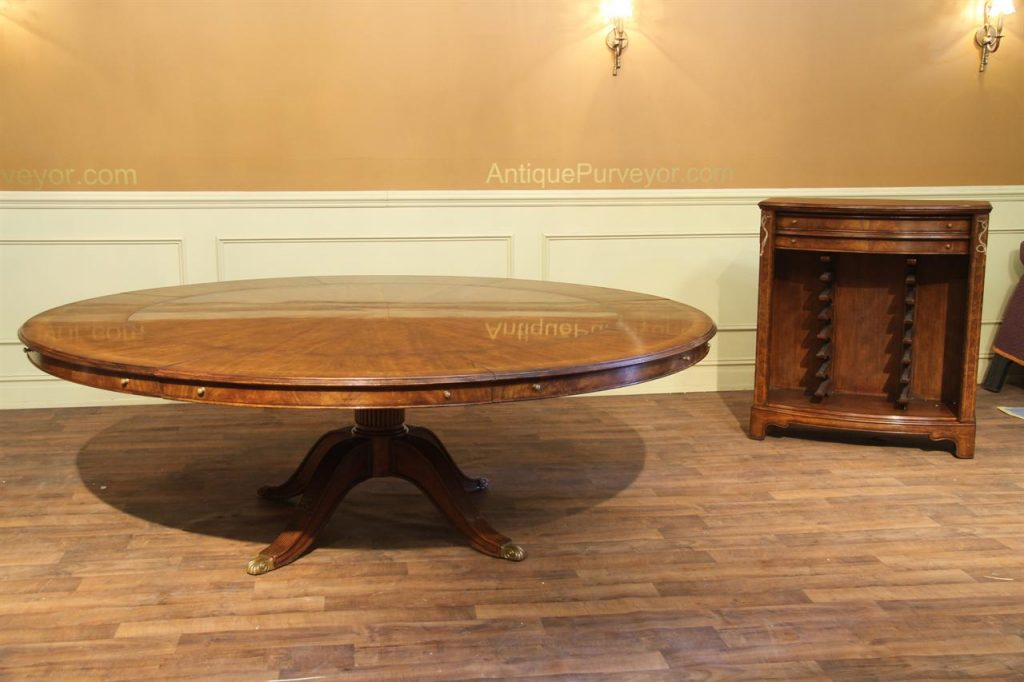 Expandable Round Walnut Dining Table Formal Traditional