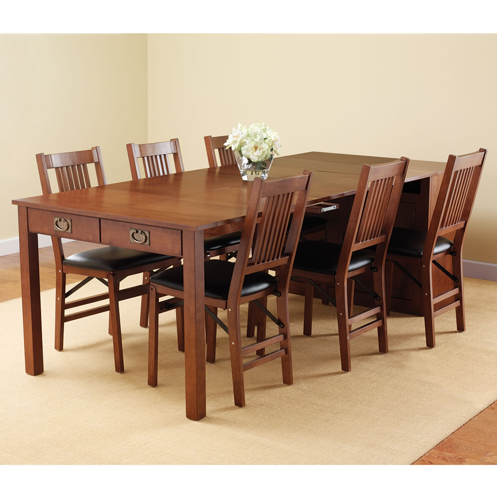 Expanding Dining Table Hutch Hammacher Schlemmer