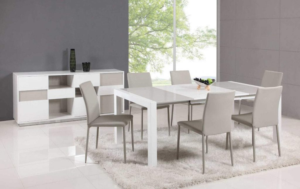 Extendable Glass Top Leather Dining Table And Chair Sets Lincoln