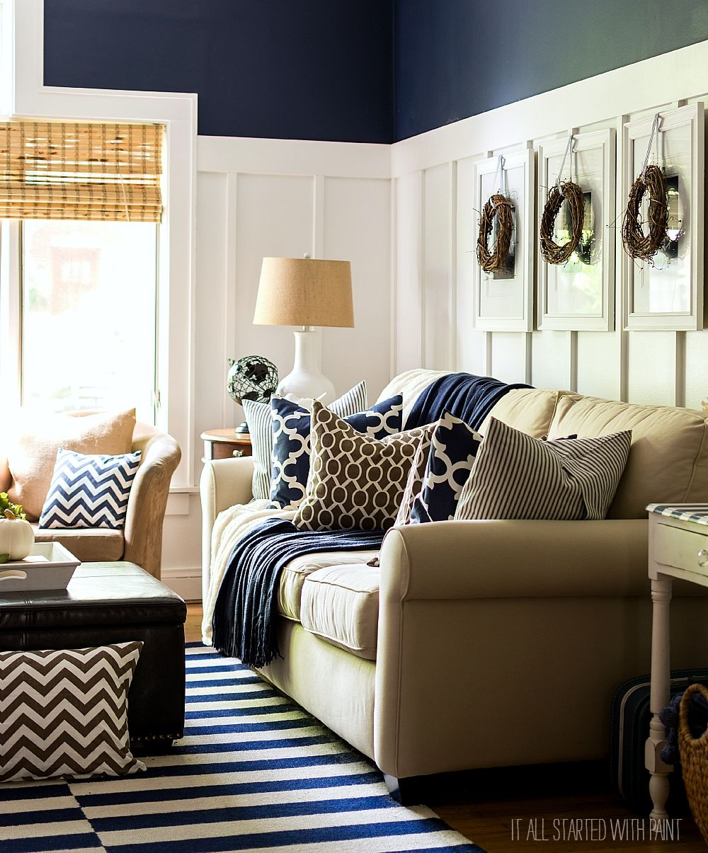 Fall Decor In Navy And Blue Favorite Finds Brown Blue Living