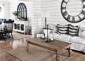 Black and White Farmhouse Living Room