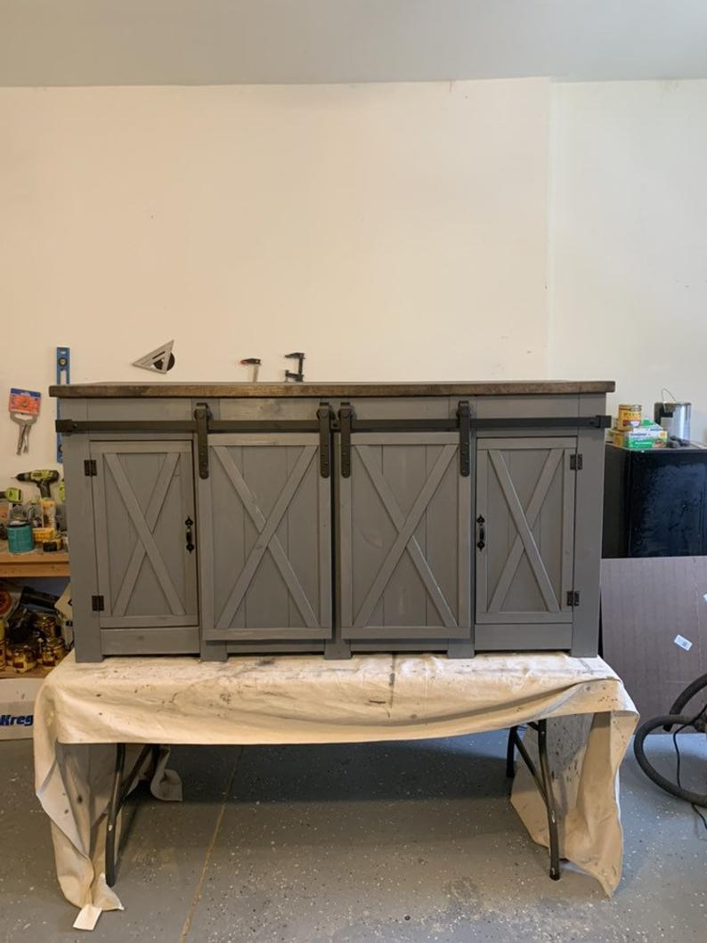 Farmhouse Rustic Style Buffet With Barn Doors Sideboard Etsy