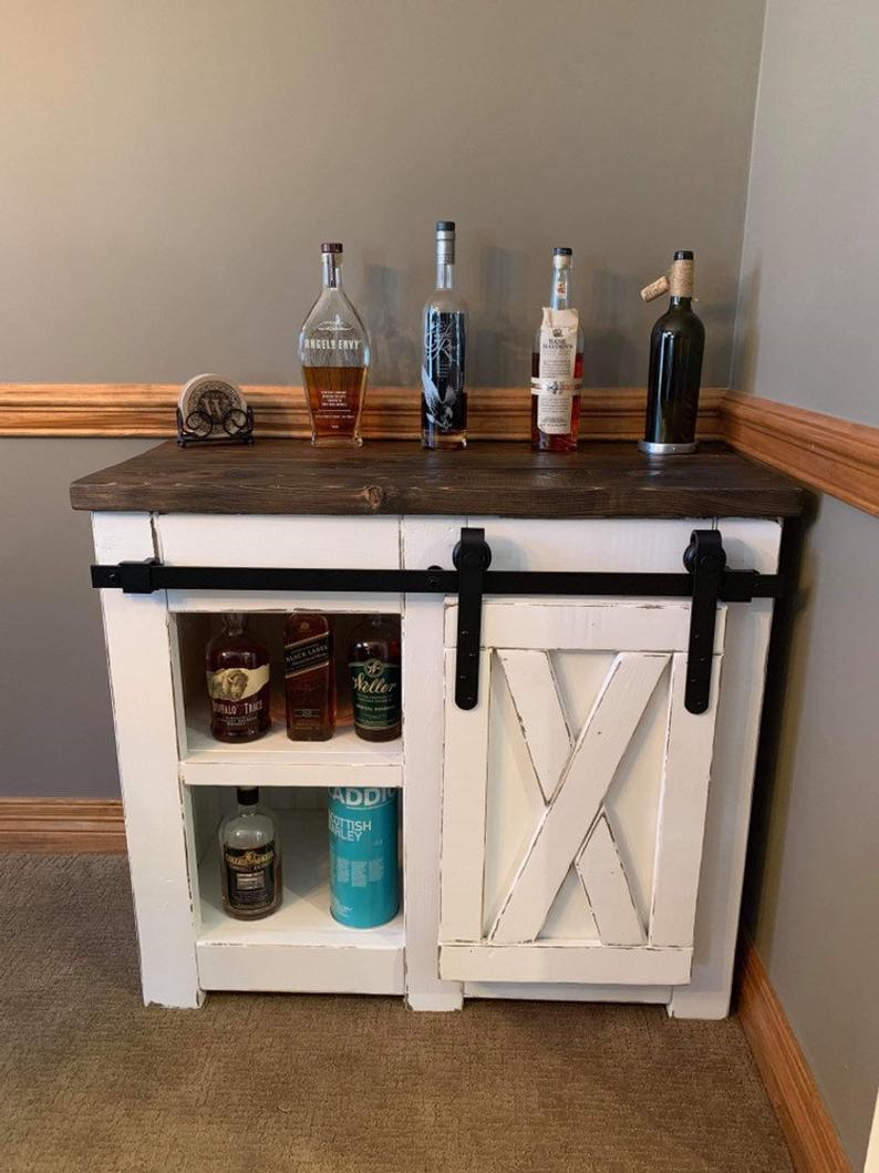 Farmhouse Style Coffee Bar With Barn Door Slider Sideboard Etsy