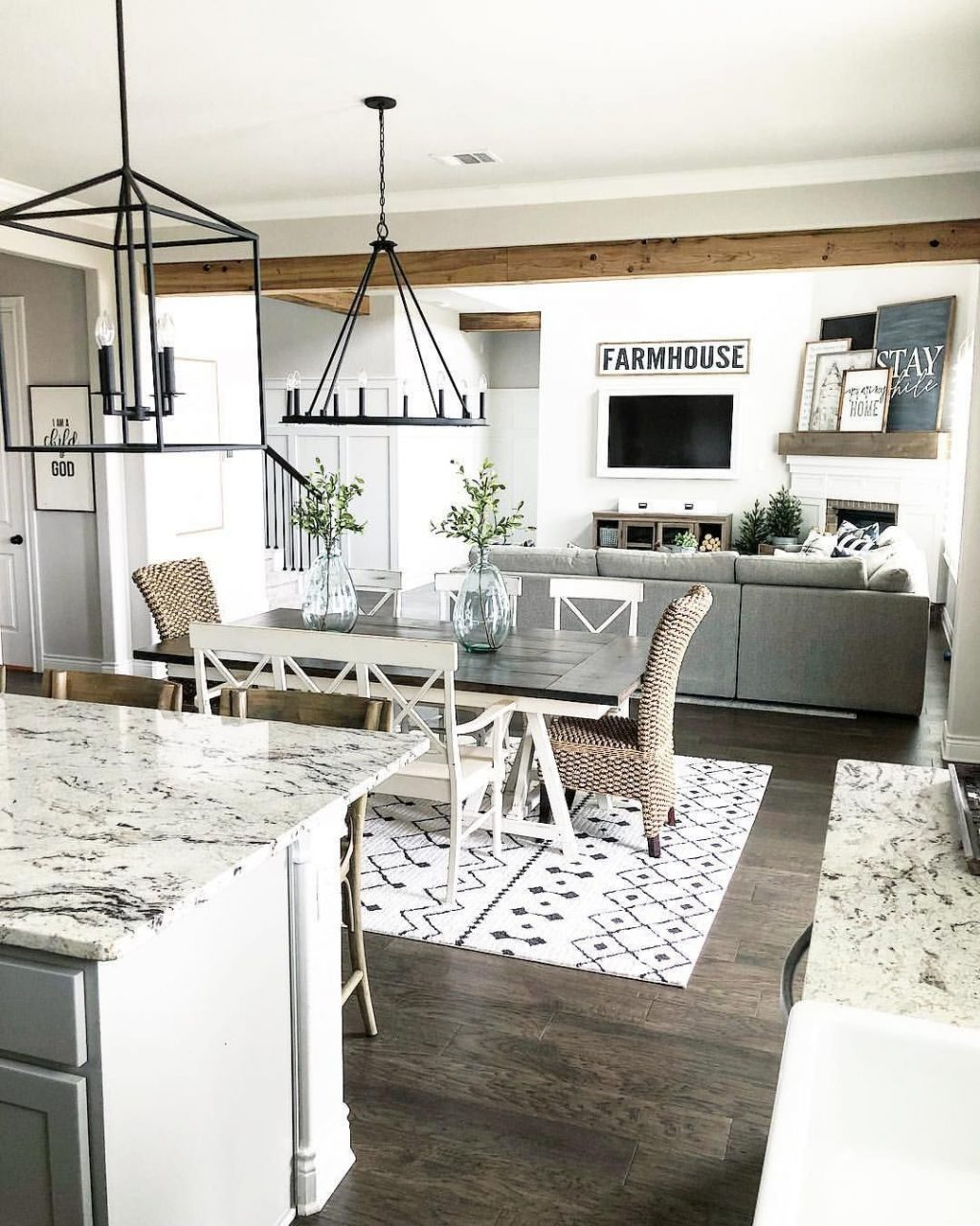 Farmhouse Style Open Layout With Kitchen Dining Room And Living