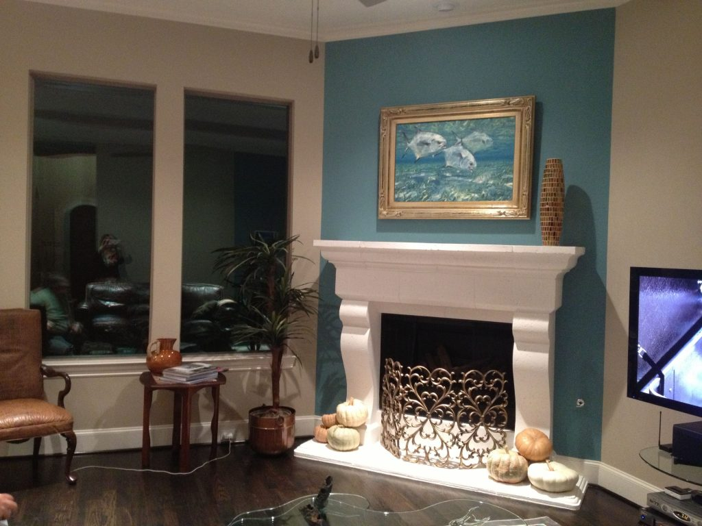 Fireplace Accent Wall Complements Painting Interior Design Ideas