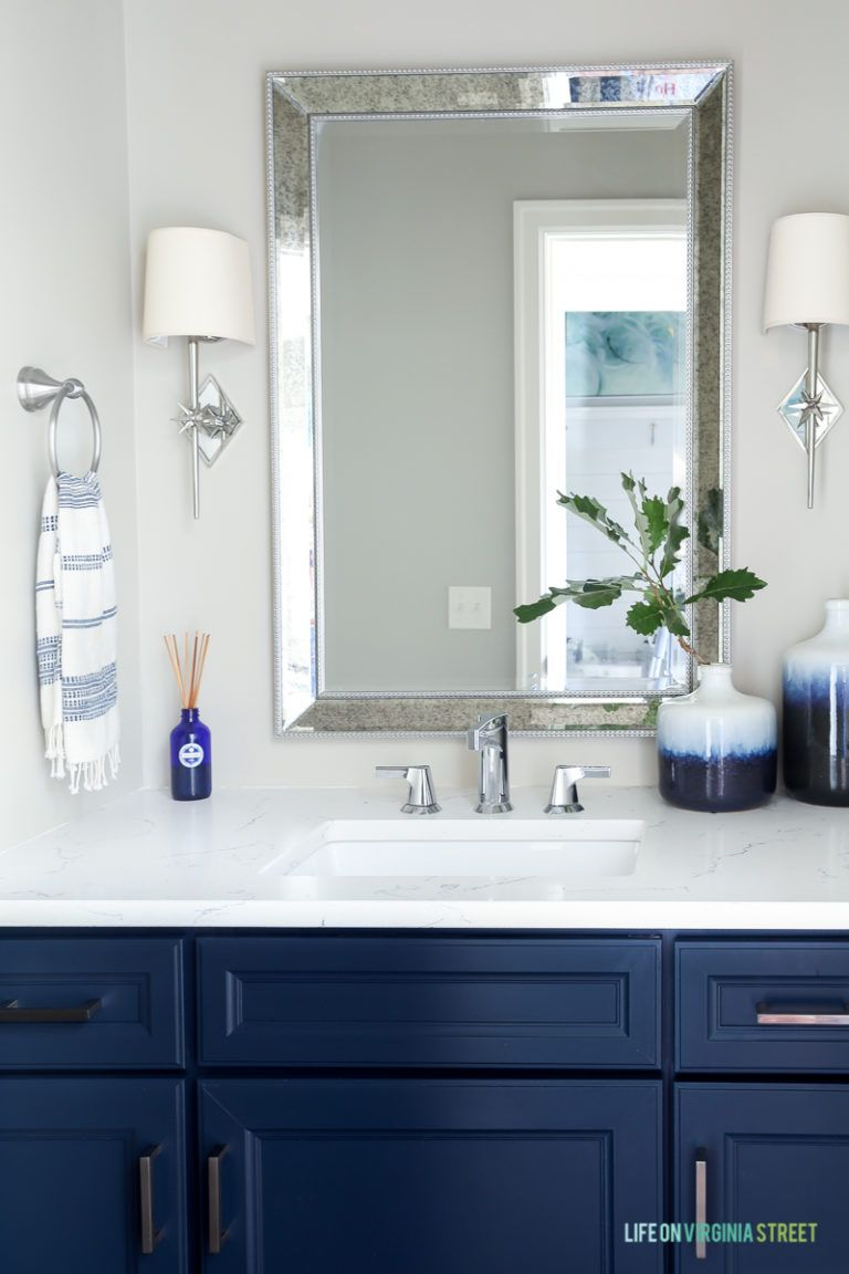 Five Years Before After Home Tour Home Navy Blue Bathrooms
