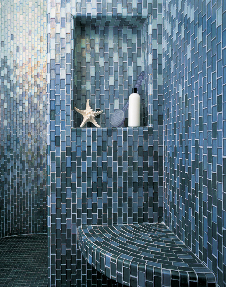 Fleet Blue Iridescent 027 Mosaic Tile Oceanside Glass Tile