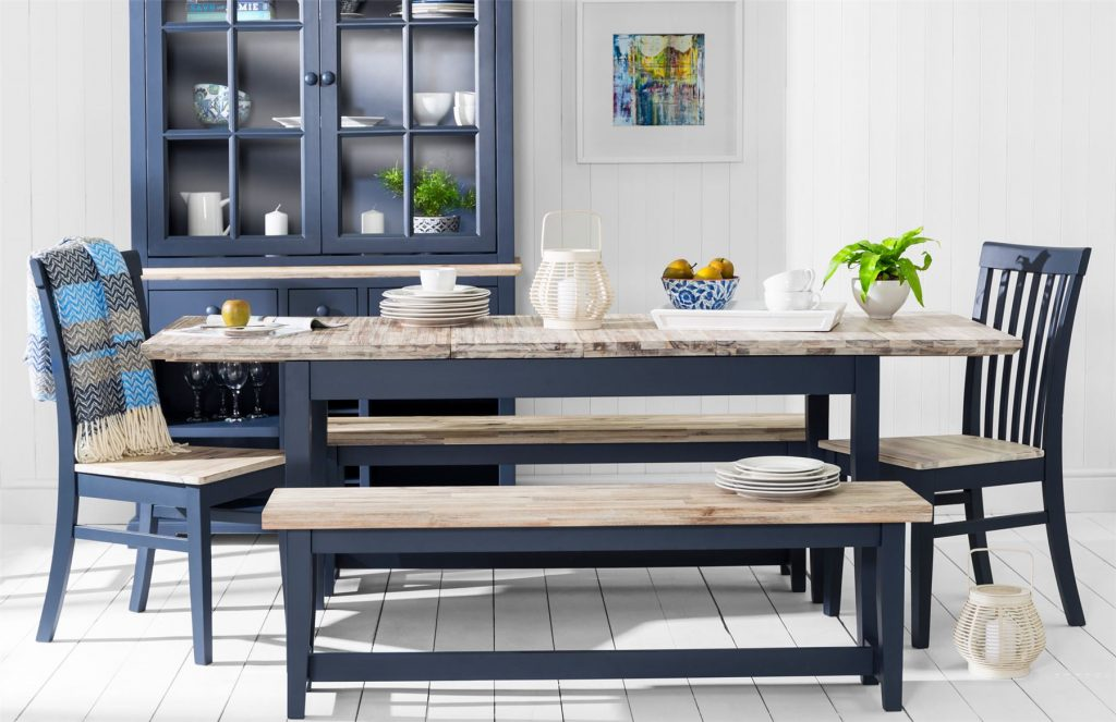 Florence Table Bench With Acacia Seat Navy Blue Kitchen Dining Room