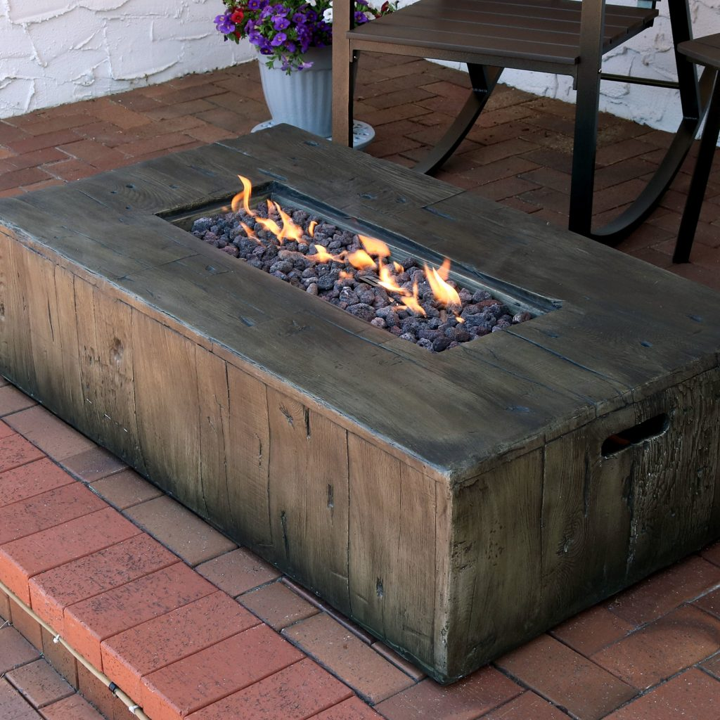 Foundry Select Arndt Rustic Faux Wood Concrete Propane Gas Fire Pit