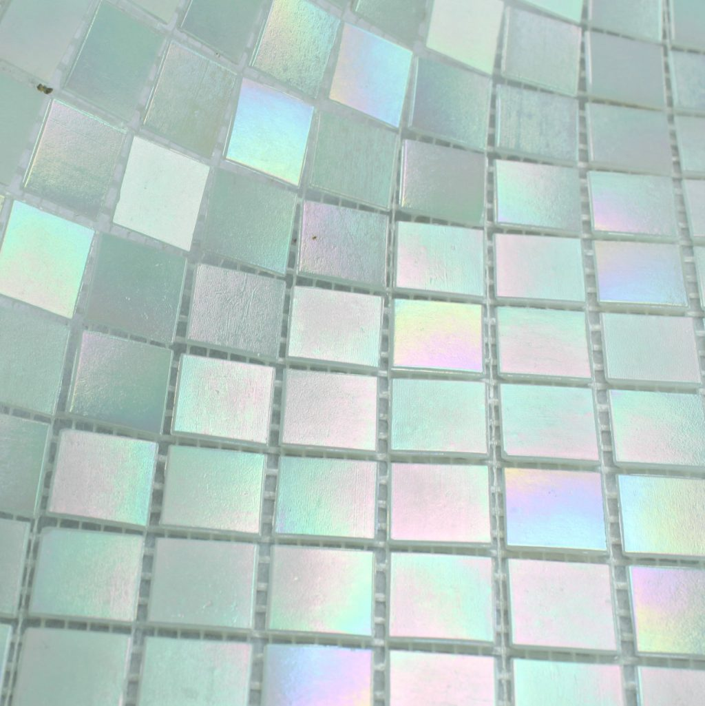 Free Shipping Glimmer Rainbow Iridescent White Glass Mosaic Tile For